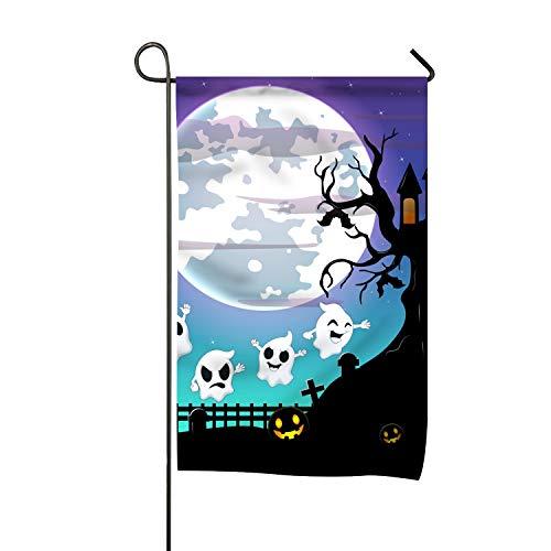 WilBstrn Halloween Night Garden Flag Premium Home Yard Flags