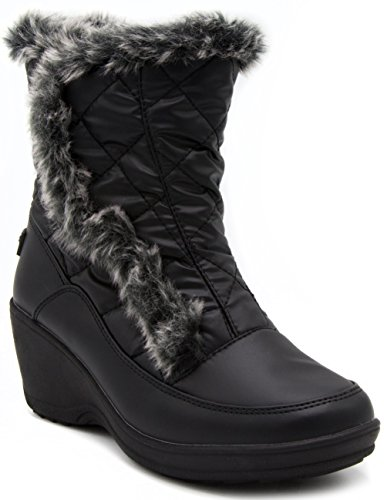 Wedge Cold London Black Womens Weather Fog Boot Tower Snow Quilting Waterproof xBHPqTwUB