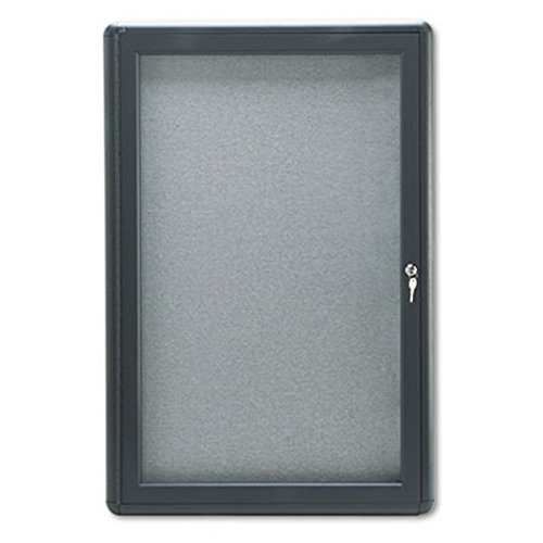 Quartet Enclosed Radius Fabric Bulletin Board, 6' x 4', 3 Door, Graphite Frame (2367L) by Quartet
