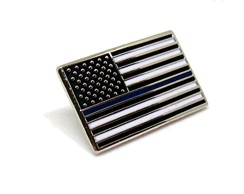Blue Usa Pin - Blue Thin Line US Flag - USA Proudy Patriotic American Standard Official Police Lapel Pin Series (Blue Line Rectangle)