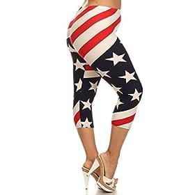 - 41GuVmOLTqL - Leggings Depot Women's Plus Size High Waisted Capri Print Leggings