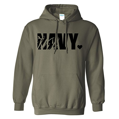 Navy Wife Hooded Sweatshirt in Military Green - X-Large