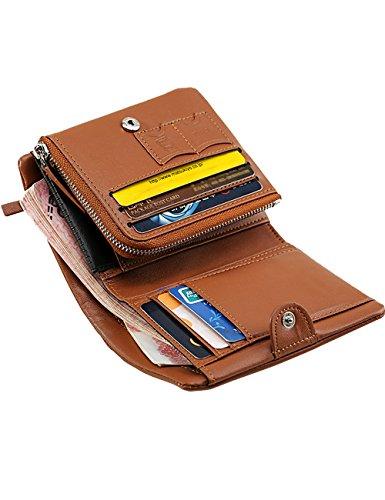 Leather Wallet Brown Fashion Minimalist Wallet Stylish Wallet Genuine Men Slim Brown qx5wE4qv