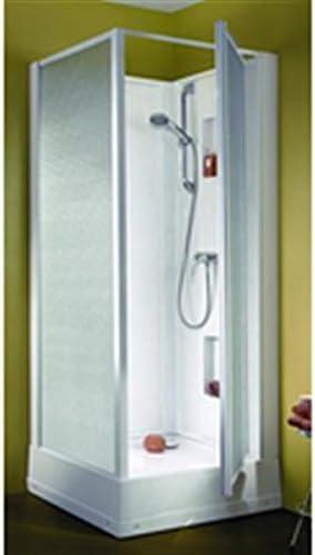 Cabina de ducha izibox cuadrada 70 x 70 cm, instalación en ángulo o encastrée, equipo Confort, con grifo monomando, puertas Pi: Amazon.es: Hogar