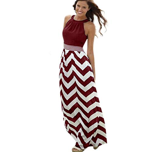 WOCACHI Womens Long Maxi Dress Boho Stripe Evening Party Beach Halter Sleeveless Tank Dresses Sundress 2019 Summer Deals Fashion Ladies Bohemian Ankle Length Vacation Beachwear