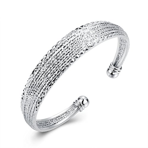 Filigree Cuff - WIBERN Silver Plated Women Jewelry Twisted Cuff Open Adjustable Charm Bracelet with Filigree End Caps