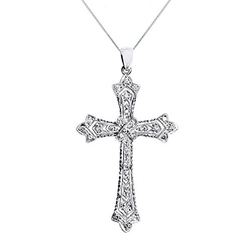 14k Antique Cross - Genuine Diamond Antique Style Cross Pendant Necklace in 14K White Gold Plated Silver With Chain 0.20 Carats