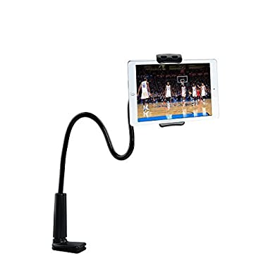 Tryone Gooseneck iPhone Holder/ iPad Stand/ Cellphone Stand/ Tablet Mount Holder, Bolt Clamp with Bracket for Apple or Android Devices 4-10.6 Inches, 360 Degree Rotating, 32 Inches Flexible Arm(Black)