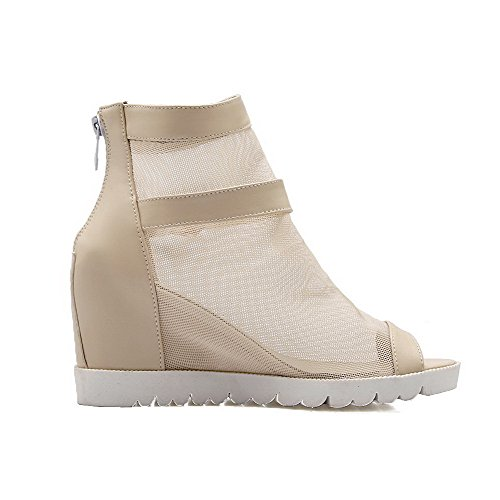 Amoonyfashion Womens Peep-toe Pull On Pu Tacchi Alti Sandali Beige
