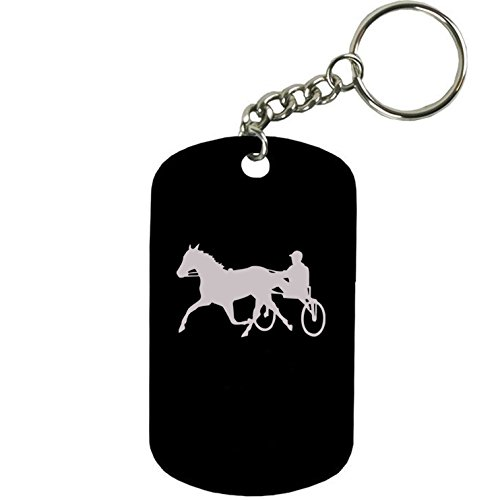 Personalized Engraved Custom Harness Horse Racing 2-inch Colored Anodized Aluminum Customizable Keychain Dog Tag, Black (Dog Horses Harness)