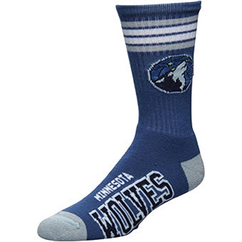 fan products of For Bare Feet NBA 4 Stripe Deuce Crew Men Socks (Minnesota Timberwolves, Large (10-13))