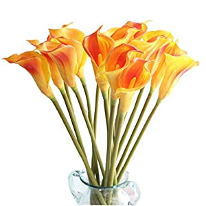 "cn-Knight Artificial Flower 10pcs 26"" Long Stem Calla Lily Faux PU Flower Fake Arum Lily for Wedding Bridal Bouquet Bridesmaid Home Décor Office Baby Shower Centerpiece Reception(Orange)"