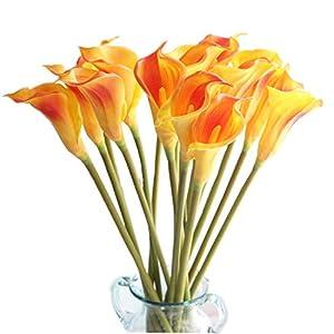 "cn-Knight Artificial Flower 10pcs 26"" Long Stem Calla Lily Faux PU Flower Fake Arum Lily for Wedding Bridal Bouquet Bridesmaid Home Décor Office Baby Shower Centerpiece Reception(Orange)"