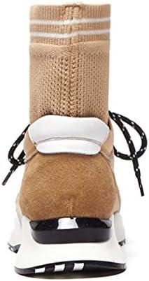 Lucdespo Ladies Casual Shoes Elastic Knitted Sweater Martin Boots Stivali da Donna Stivali Alti Handmade Socks.Yellow, 37