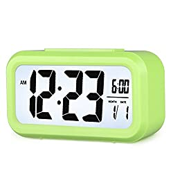 Smart Backlight Alarm Clock Mute Silent LCD Electronic Travel Clock With Large Display And Big Numbers Date and Time Display HA11-6(green)