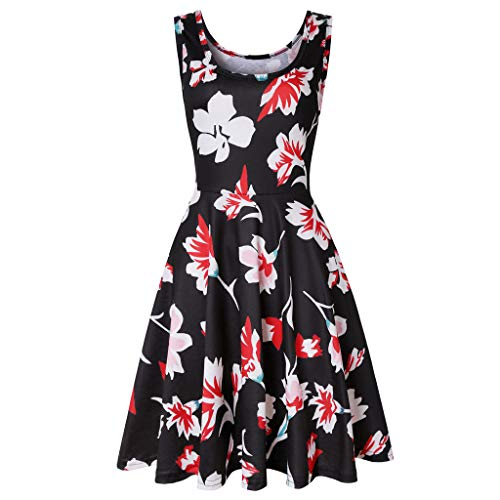 - Xinantime Women's O-Neck Sleeveless Print Dress Retro Floral Dress Evening Dress Black