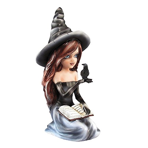 Black Witch Figurine with Book and Raven