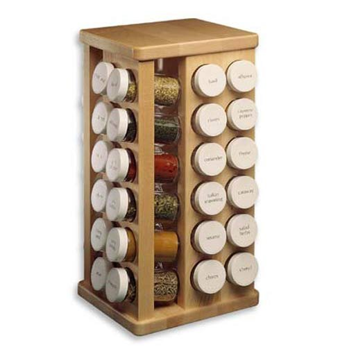 J.K. Adams Sugar Maple Wood Spice Jar Carousel, 48 Glass Jars, 8X16-Inch made in New England