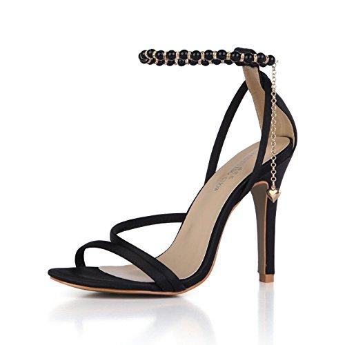 Best 4U® Sandalias de verano de las mujeres Cómodas bombas de Faux Basic Bombas Correas Peep toe 10CM Tacones altos de goma único Pendientes de cadena Zapatos de boda , Black , EU39