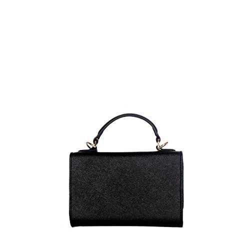 ROUVEN Noir & Gold LIVA 18 SMARTPHONE MINI WALLET EPSOM Tote Bag Sac fourre-tout sac en cuir femmes porte-monnaie Pochette épaule de sac à main chaîne chic petit mini moderne (18x12x3cm)