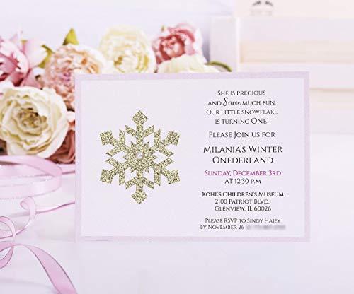 Winter Onederland Invitation, First Birthday, Onederland Birthday, Wonderland Birthday Card, 1st Birthday, Pink and Gold Birthday Invitation ()