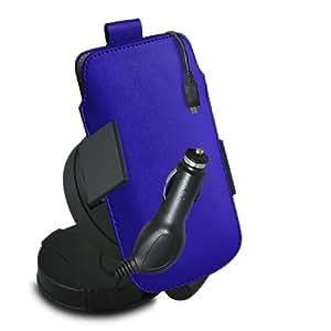 ONX3 Nokia 515 Leather Slip cuerda del tirón de la PU de protección en la bolsa con el caso de Quick Release, 360 Rotación del parabrisas del coche y cuna 12v Micro USB cargador de coche (azul)