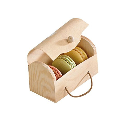 Rectangular Wooden Macron Cookie Boxes with Latch (Case of 100), PacknWood - Unique Treat Box (4.33