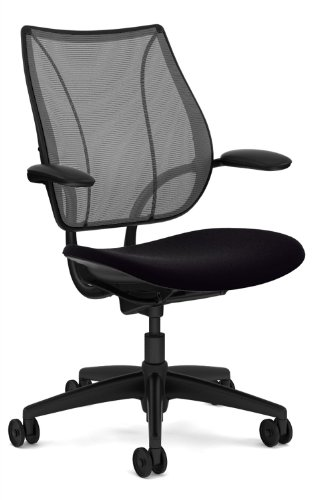 - Liberty Chair by Humanscale - Black Frame - Foam Seat - Fixed Duron Arms - Black Vellum Seat - Carbon Monofilament Back
