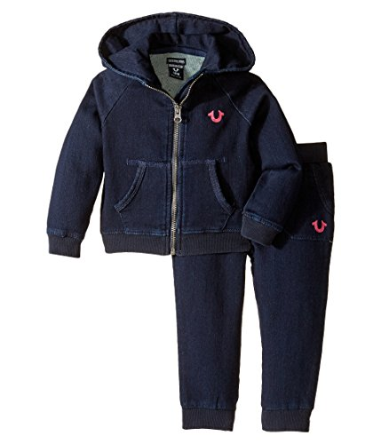 True Religion Kids Indigo French Terry Hoodie Set Infant/Toddler Indigo Girl's Active Sets, 12 - Hoody Women True Religion
