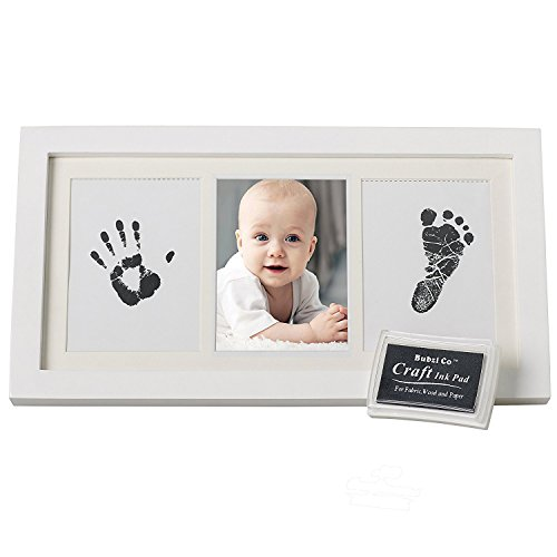 Bubzi Co Baby Handprint Kit & Footprint Photo Frame for Newborn Girls and Boys, Unique Baby Shower Gifts Set for Registry, Memorable Keepsake Box Decorations for Room Wall or Nursery Decor