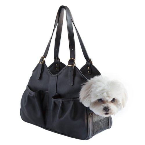 Petote Metro Couture Leather Dog Carrier, Midnight, ()
