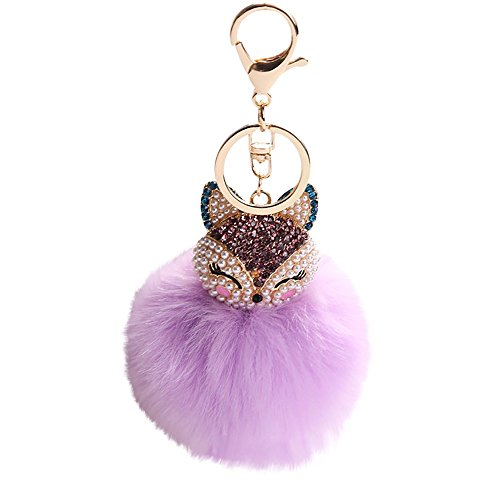 (8CM Fox Fur Ball with Artificial Fox Head Inlay Pearl Rhinestone Key Chain,Outsta 2019 Fashion Jewelry Hot Sale!Under 5 Dollars Gifts for Her )