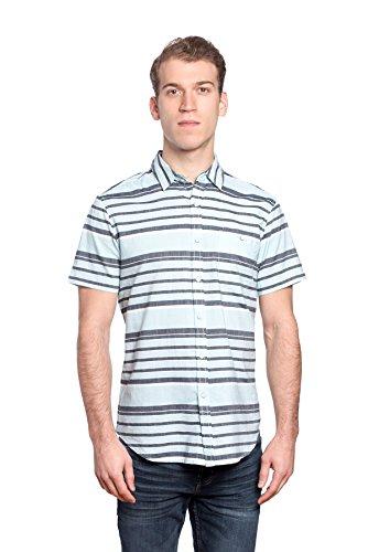 Free Planet Mens Designer Horizontal Striped Collared Shirt With Chest Pocket - Light Blue/Navy Stripe, - Planet Men Blue