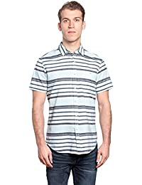 "<span class=""a-offscreen"">[Sponsored]</span>Mens Designer Horizontal Striped Collared Shirt With Chest Pocket"