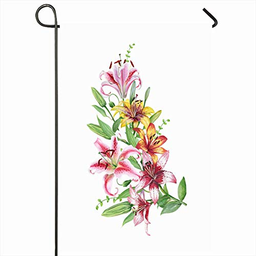Ahawoso Outdoor Garden Flag 12x18 Inches Border Orange Pattern Watercolor Twig Mix Lilies Holidays Lily Anniversary Nature Pink Flower Floral Seasonal Double Sided Home Decorative House Yard Sign