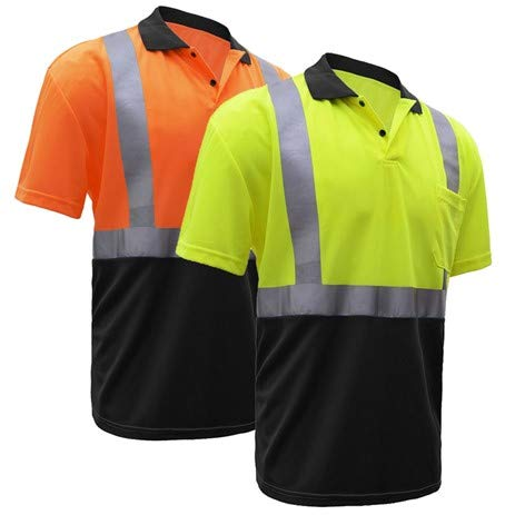 Safety Polo Shirt   Hi Vis Polo Shirts with Reflective Tape   Moisture Wicking   ANSI Class 2 Compliant   for Men or Women (XL, Orange)