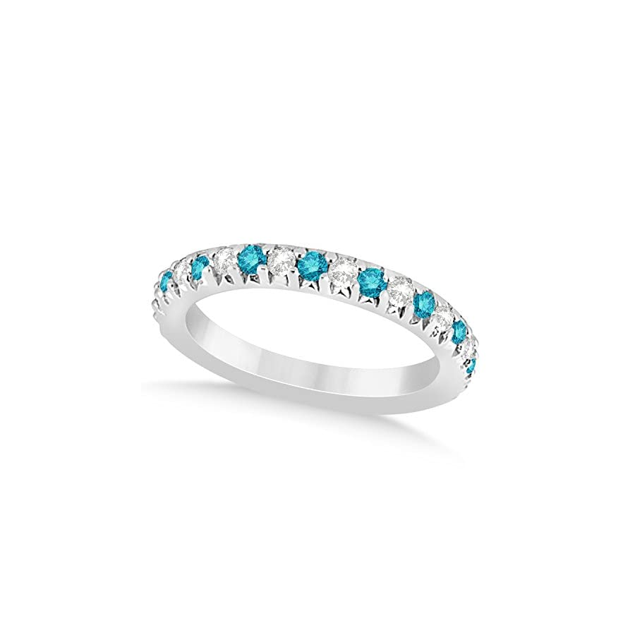 (0.60ct) Platinum Blue Diamond and Diamond Accented Prong Set Wedding Band