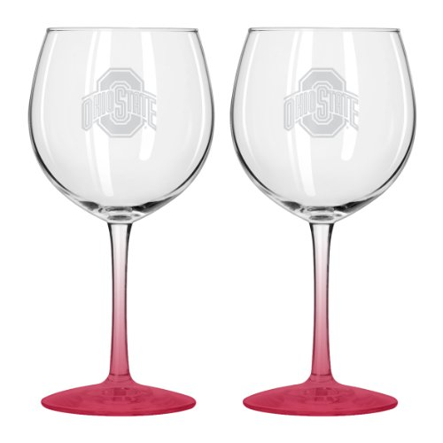 Boelter Brands NCAA Ohio State Buckeyes Satin Etch Balloon Wine Glass, 20-ounce, 2-Pack - - Buckeyes Wine