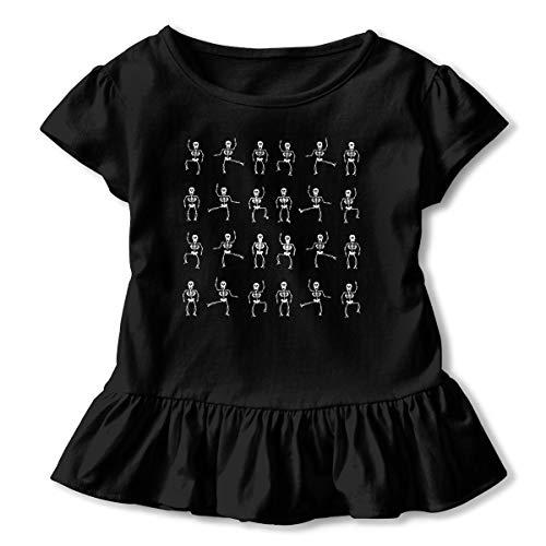 Sahaidak Little Baby Girls' T-Shirt Halloween Skeleton Skirt Dresses Ruffled Short Sleeves -