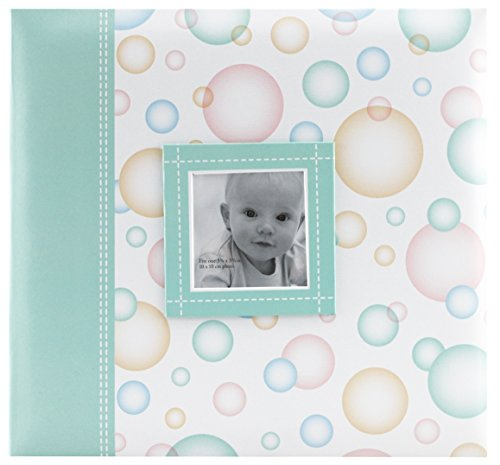 MCS MBI 12.5x13.5 Inch Baby Scrapbook Album with 12x12 Inch Pages with Photo Opening, Green Circle Design (860073) by MCS