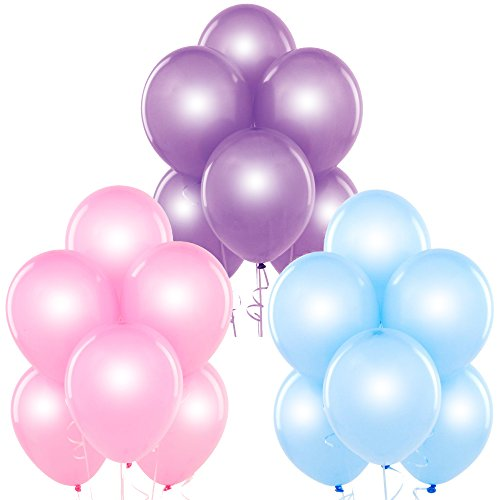 Pearl Pink, Pearl Baby Blue, Pearl Lavender 12 Inch Pearlescent Thickened Latex Balloons, Pack of 72, Pearlized Premium Helium Quality for Wedding Bridal Baby Shower Birthday Party Decorations Supply]()
