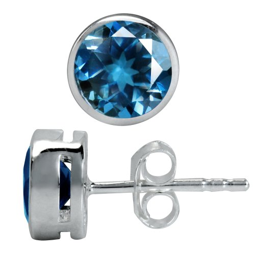 1.96ct. Genuine London Blue Topaz 925 Sterling Silver Stud ()
