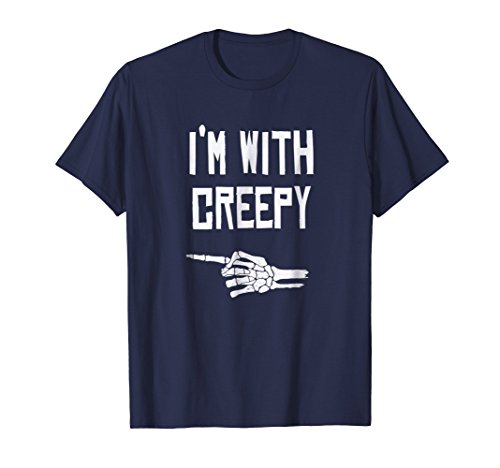 Mens I'm with Creepy - Funny Halloween T-Shirt XL Navy -