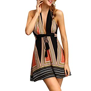 Celucke Women's Sexy Striped Printed with Belt Halter Backless Maxi Summer Beach Dress Casual Dresses Holiday