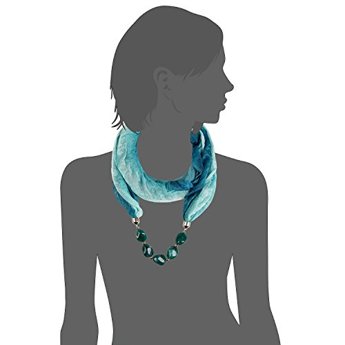 LERDU Women's Snood Necklace Scarves with Acrylic Beads Green