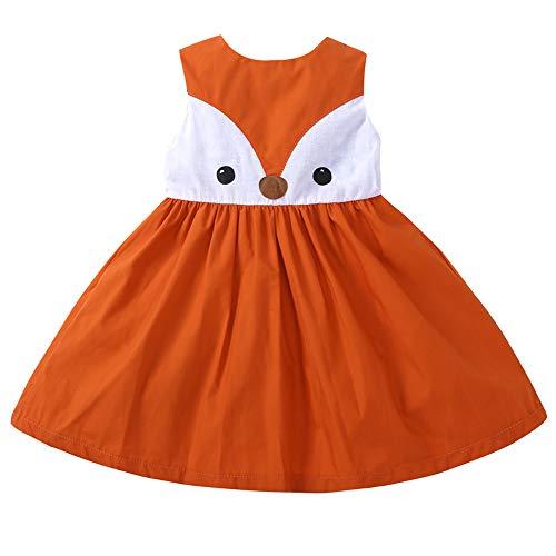 (HUAER& Toddler Baby Floral Dress Girl Backless Fashion Sleeveless Vest Braces Skirt Sundress (110(for 3-4T), Fox))