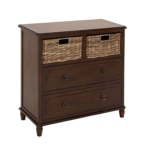 "Deco 79 96339 Wood Basket Dresser, 32"" x 32"", Taupe"