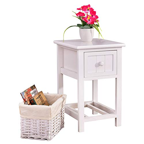 CHOCITY Night Stands, Two-Tier Night Table with Drawer and Basket White Country Style