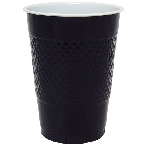 Hanna K. Signature Collection 50 Count Plastic Cup, 18-Ounce, Black