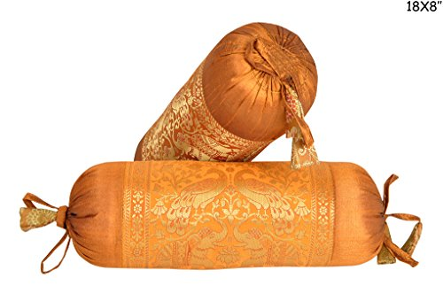 Lalhaveli Peacock & Elephant Work Design Silk Yoga Bolster Pillow Cover Set Of 2 Pcs 18 X 8 Inches by Lalhaveli